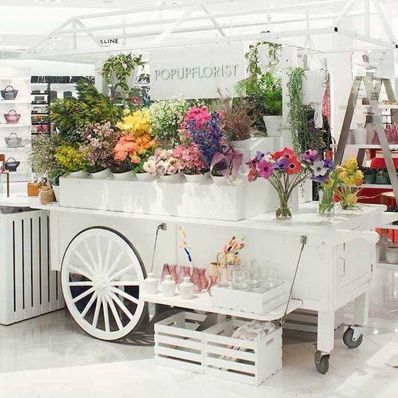 chariot de fleurs