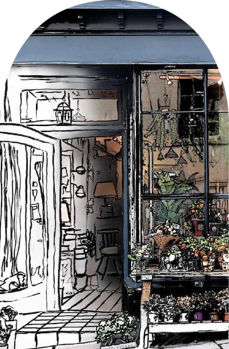 dessin boutique fleuriste paris
