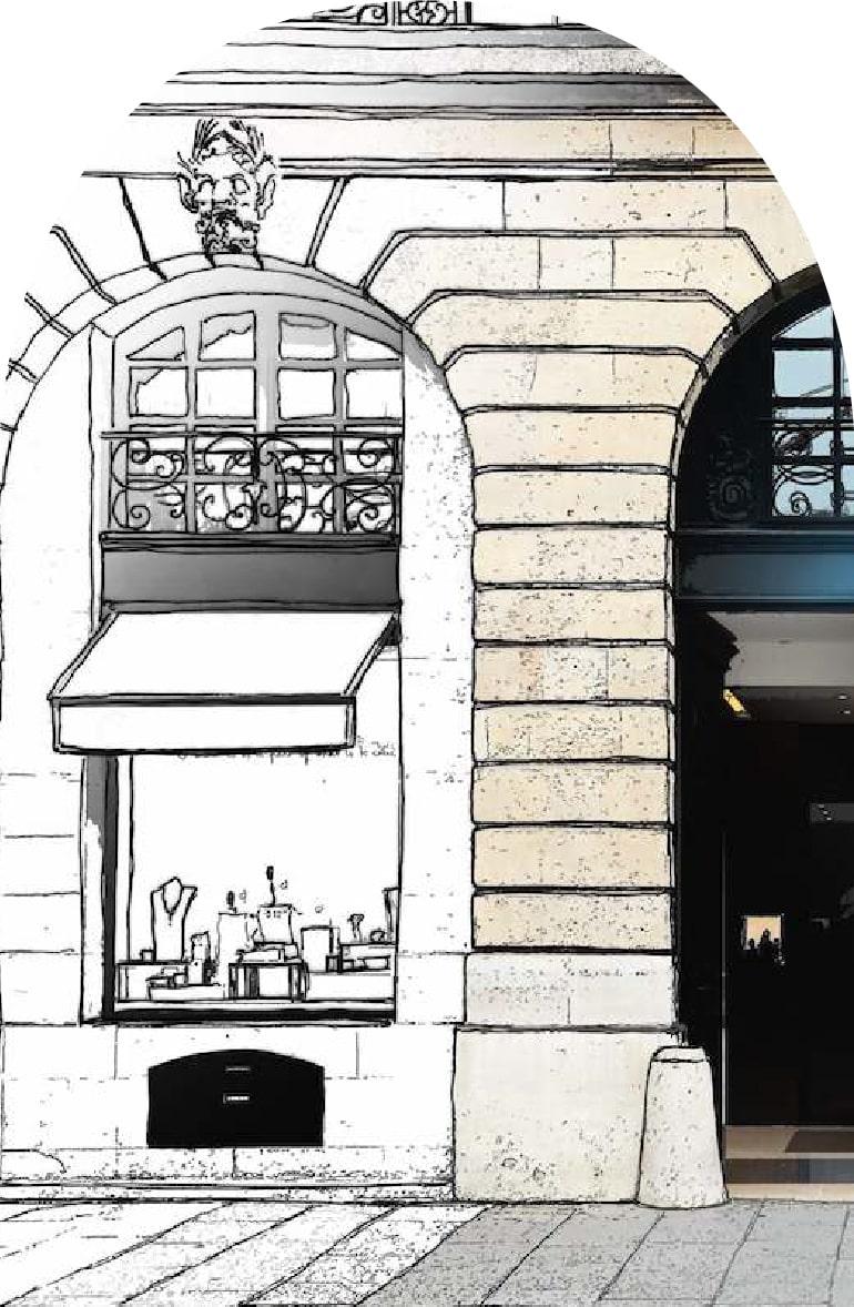 dessin boutique Chanel paris