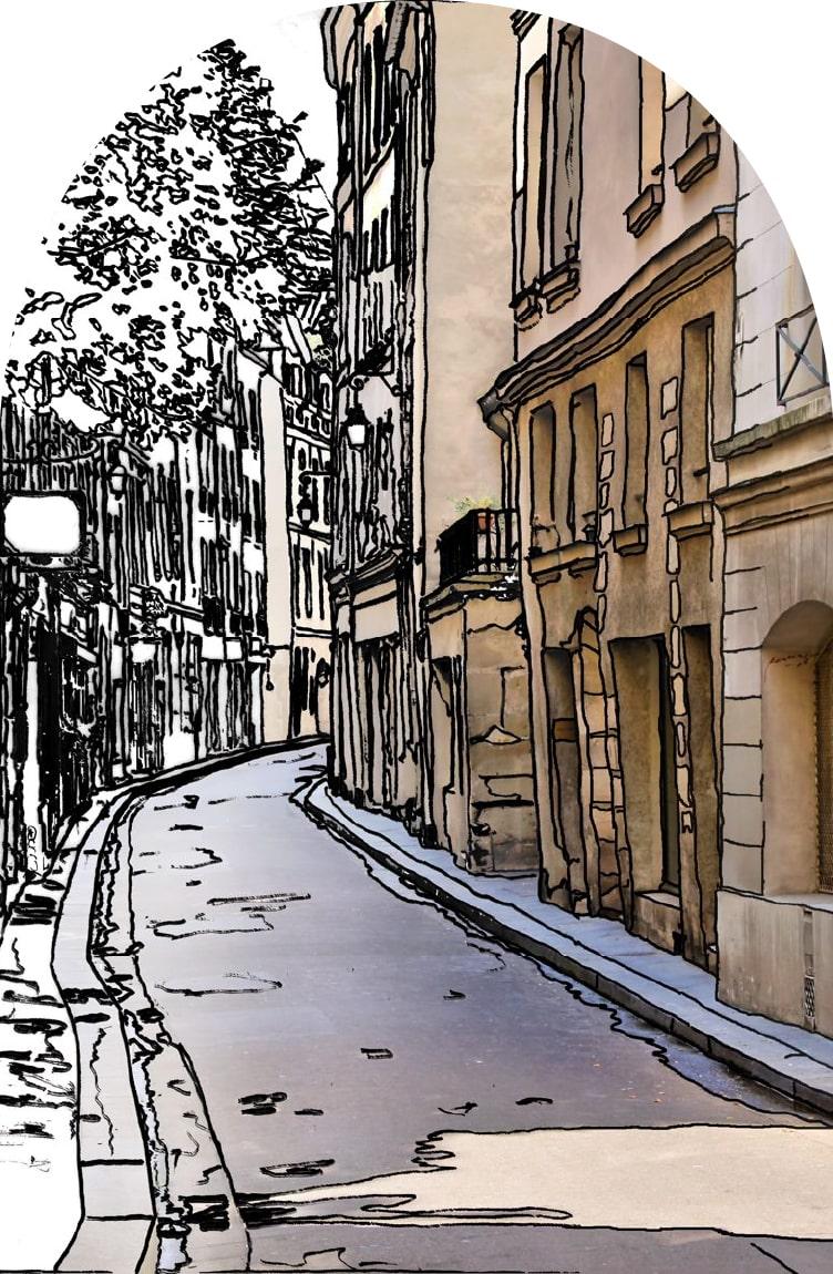 dessin rue de paris