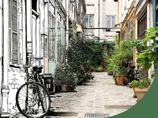 visuel ruelle de Paris végétation