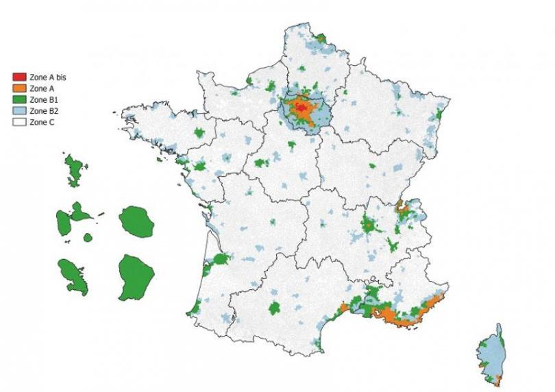 Carte de France des zones Pinel ABC