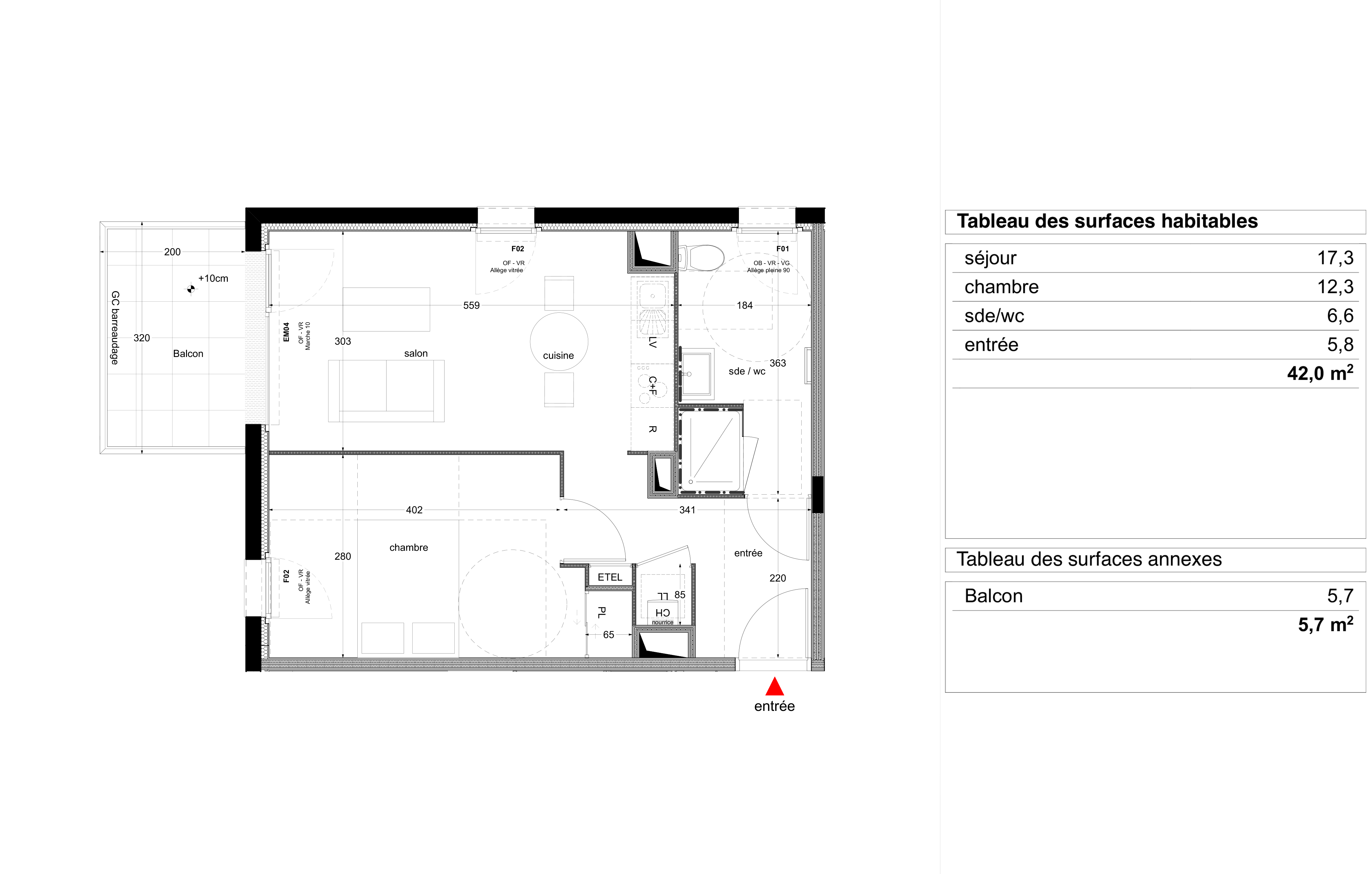 """Plan d'un appartement T2 du programme """"Les marquises"""" de Bouygues immobilier"""