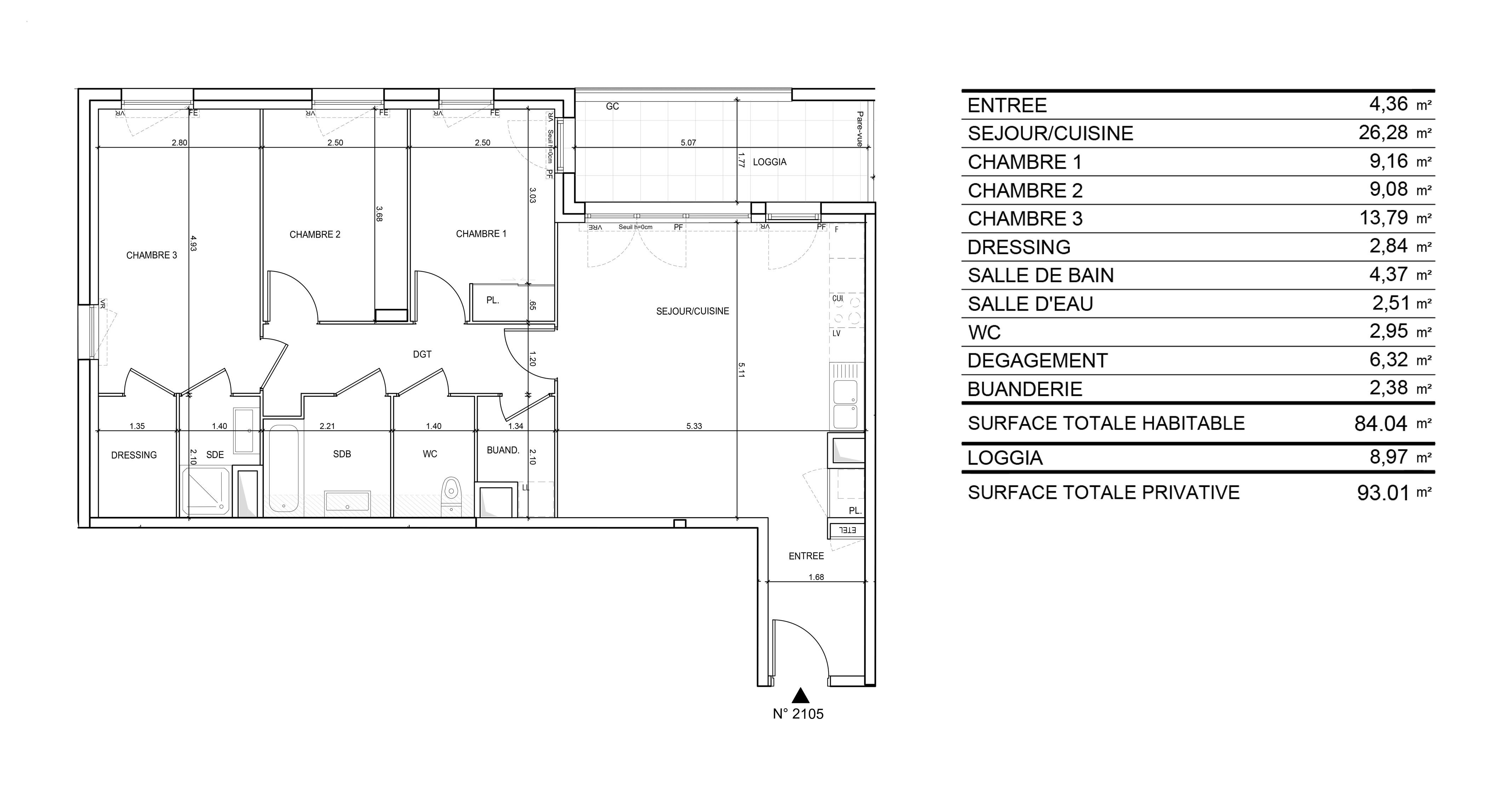 """Plan d'un appartement T4 du programme """"Les jardins du cygne"""" de Altarea Cogedim"""