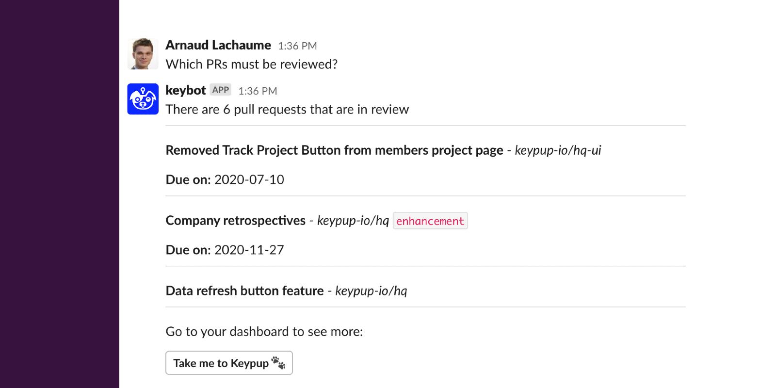 Slack - Ask Keybot