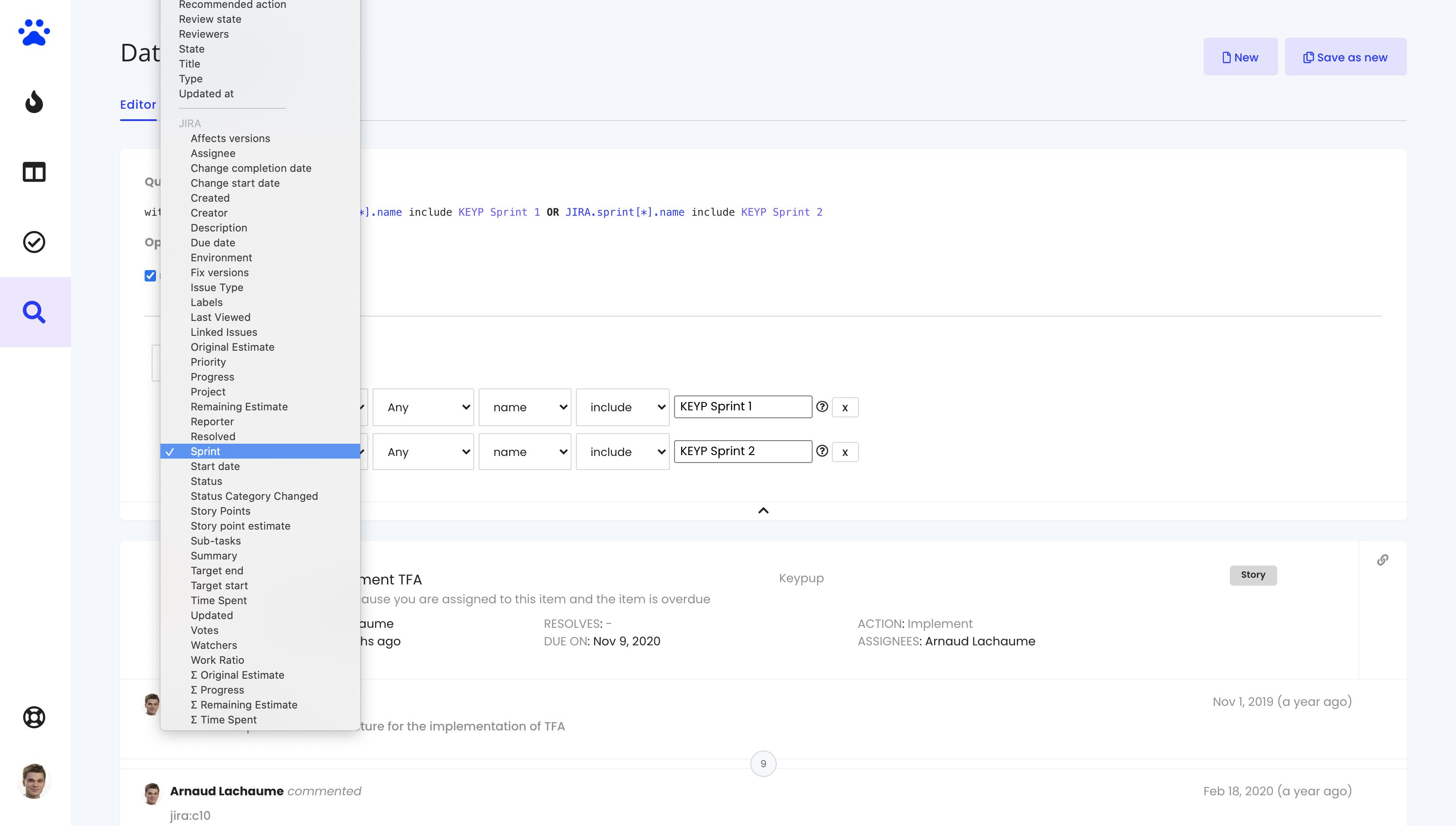 JIRA custom fields Data explorer