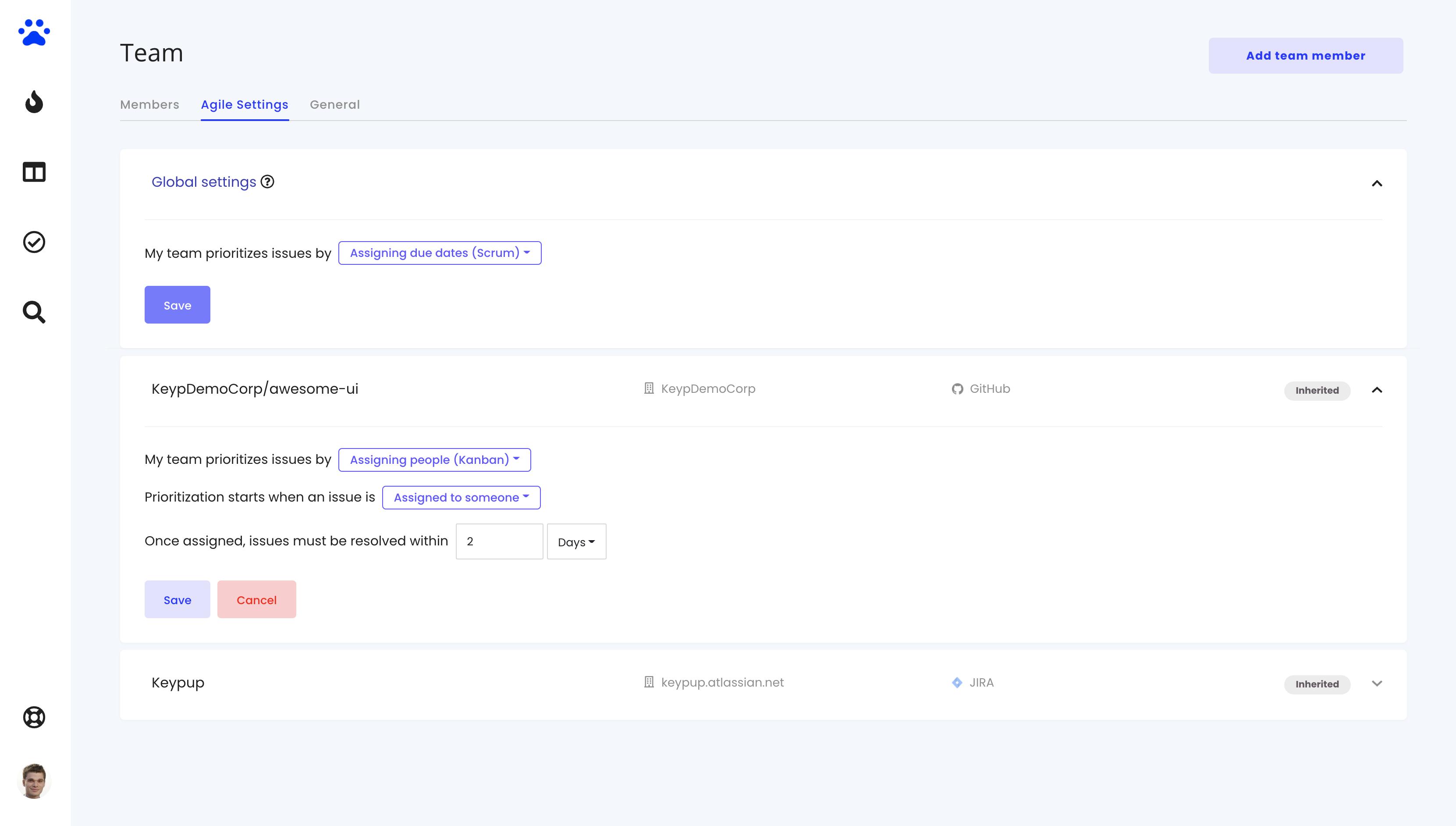 agile settings