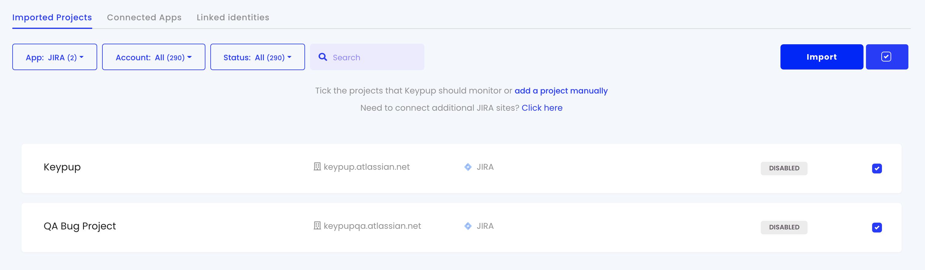 Select Jira projects