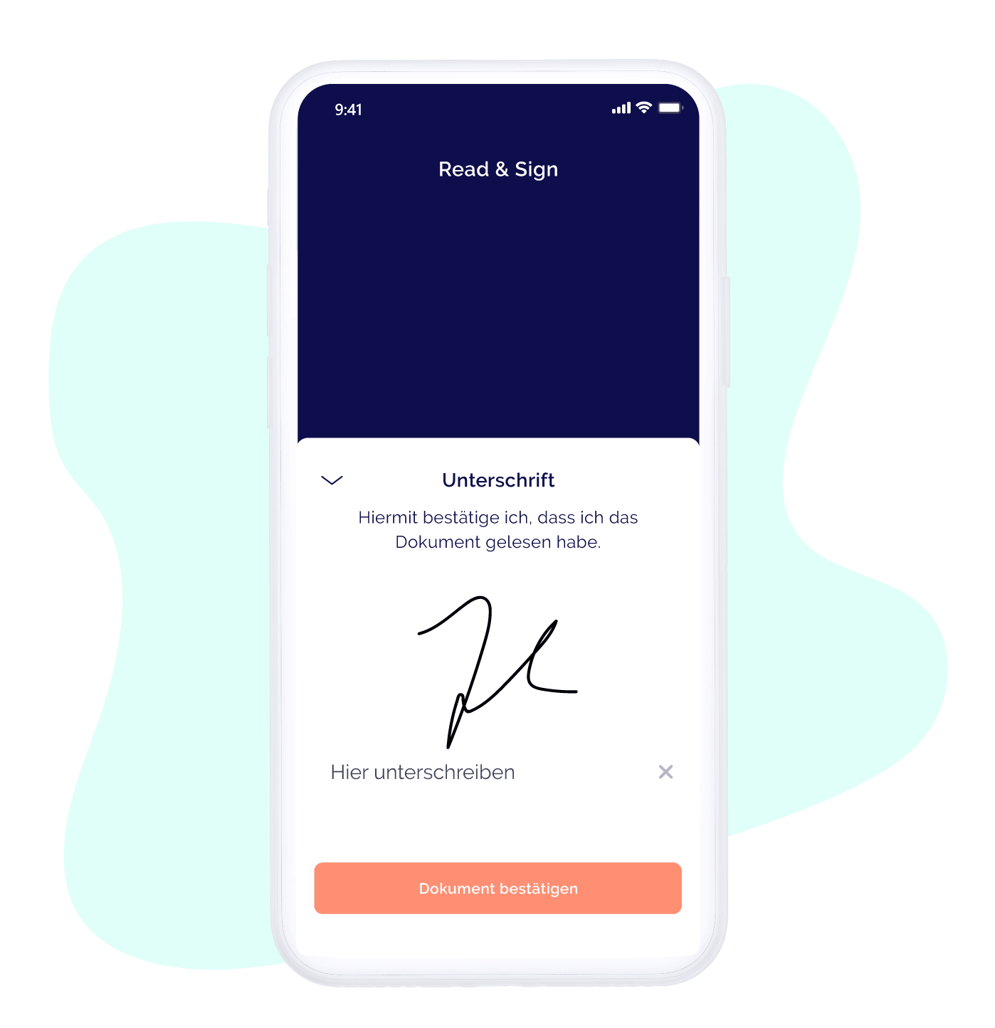 Read and Sign Unterschriftfeld in der App