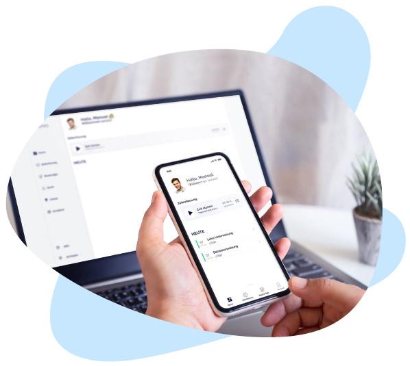 Nutzung der App auf Smartphone und Desktop