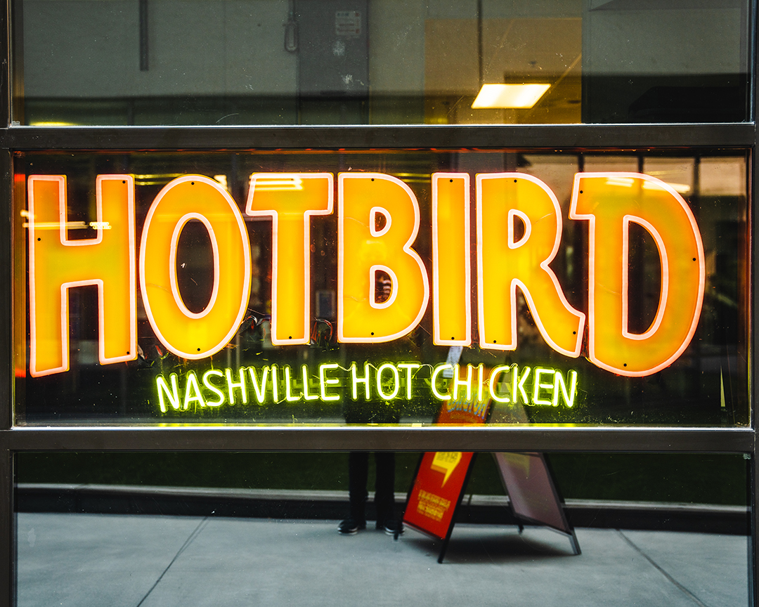 hotbird's storefront sign
