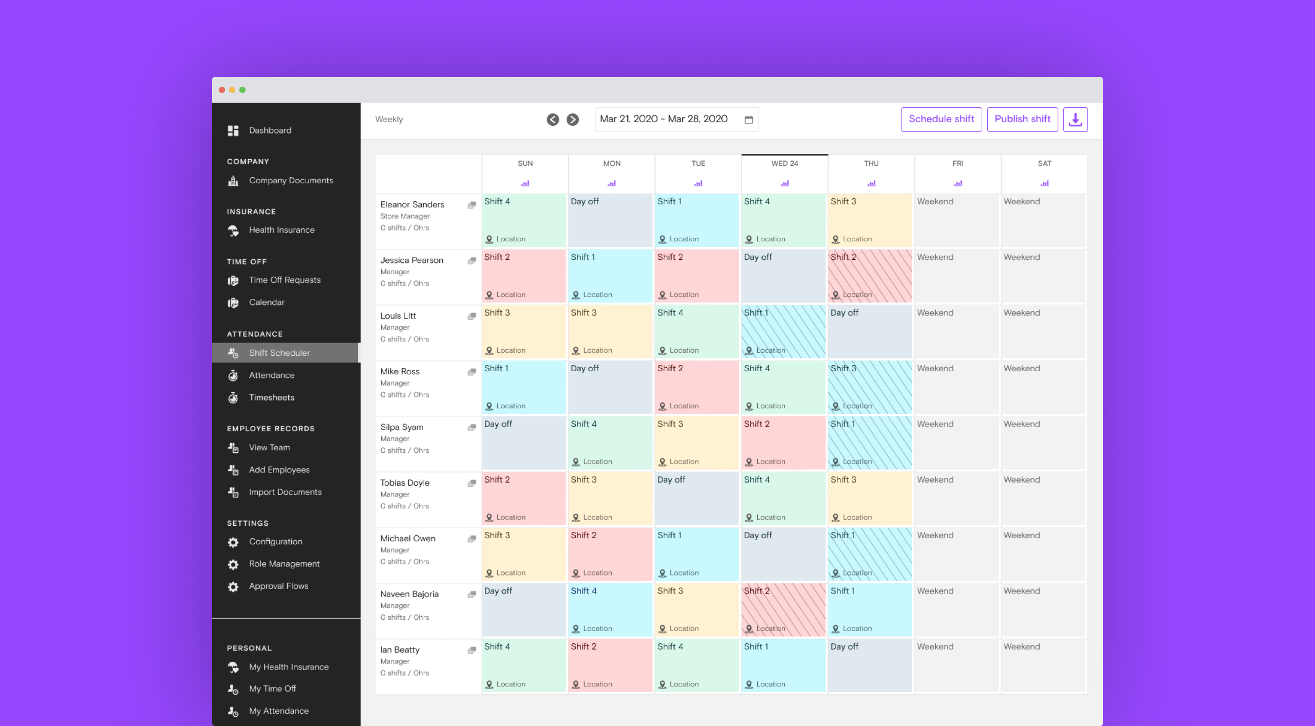 User interface of the shift scheduler available on the Bayzat platform.