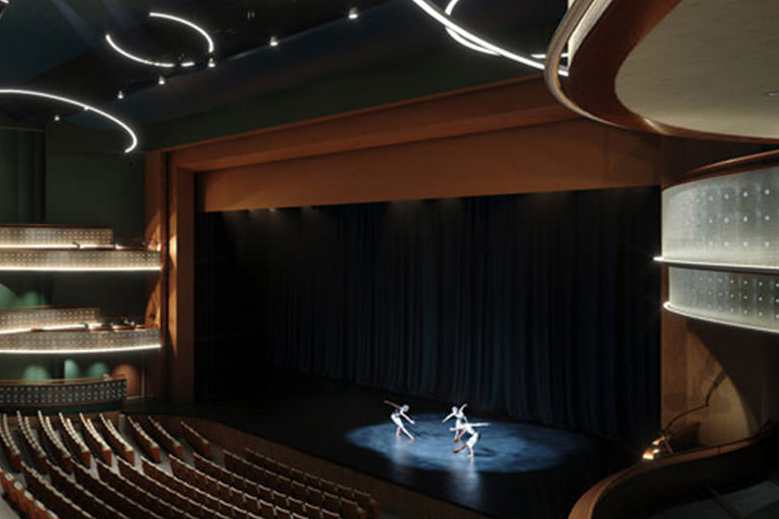 Entertainment hall stage with ballet performers