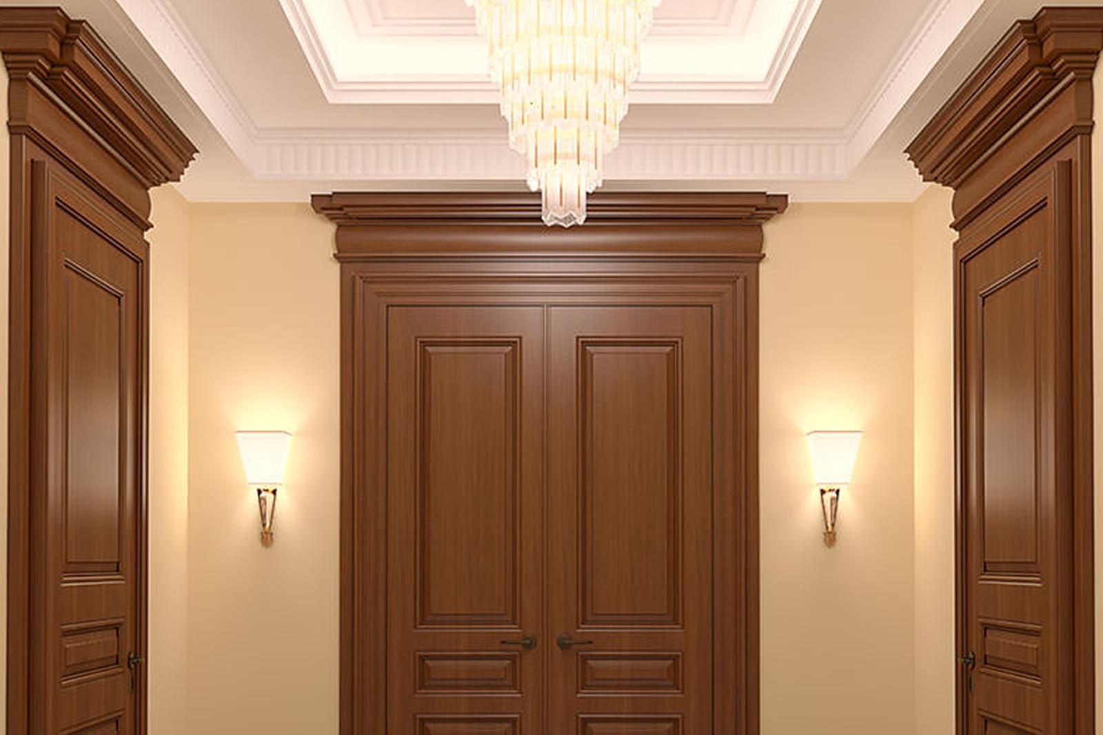 Wood fire-rated door frames in hallway