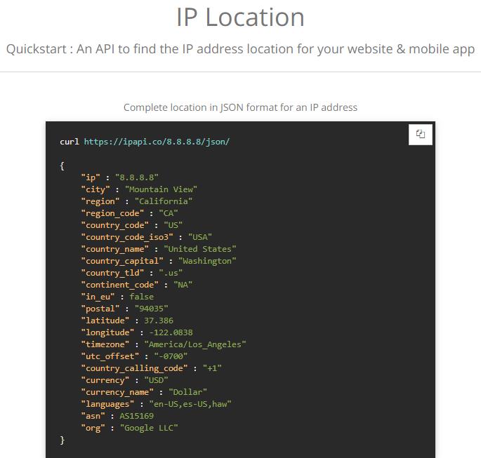 IPAPI IP location API