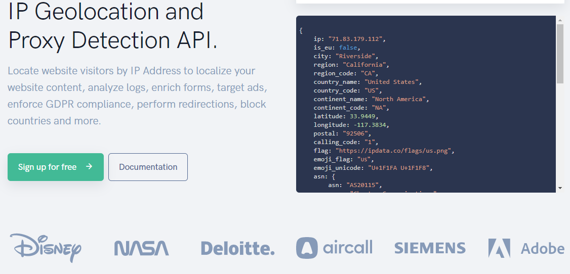 IPdata.co IP geolocation and proxy detection API