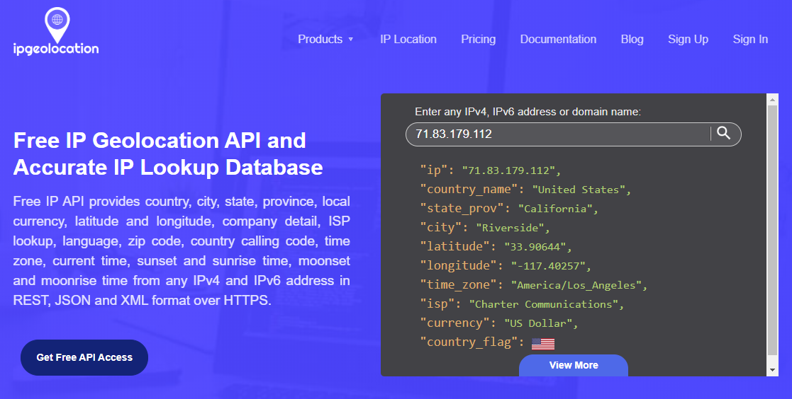 ipgeolocation API and accurate IP Lookup database