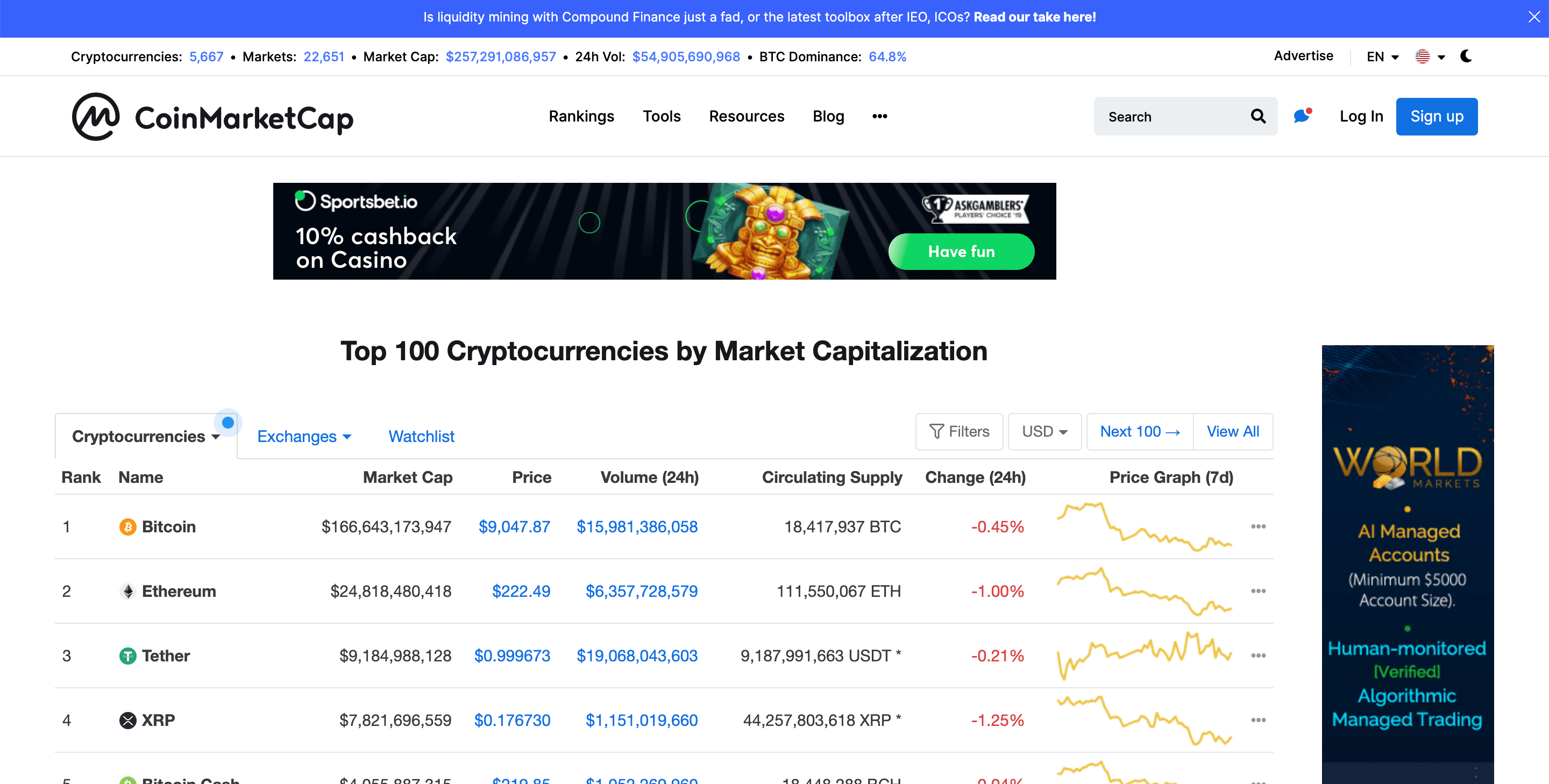 Coinmarketcap API is now the most popular cryptocurrency API