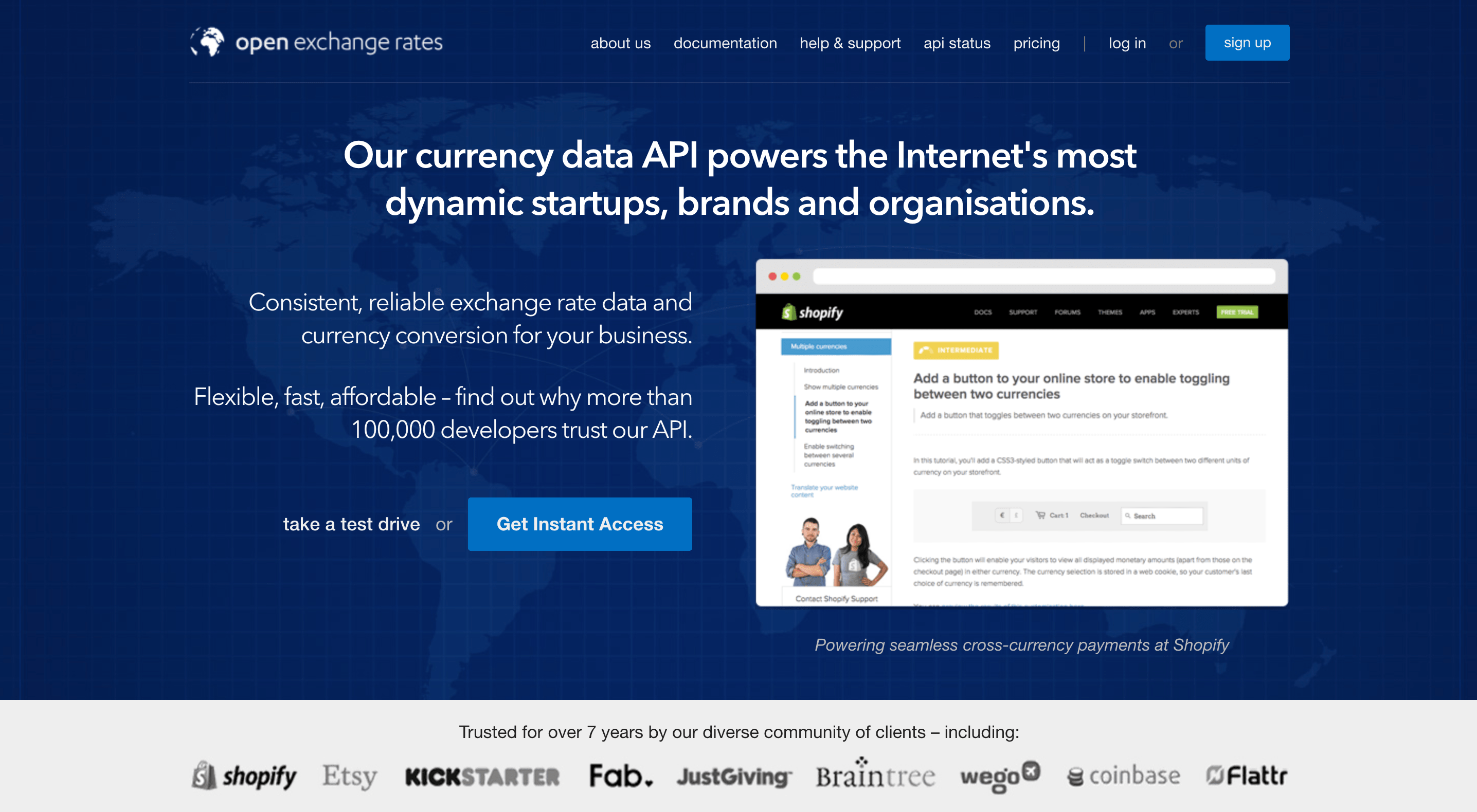 Open Exchange Rates apis used by