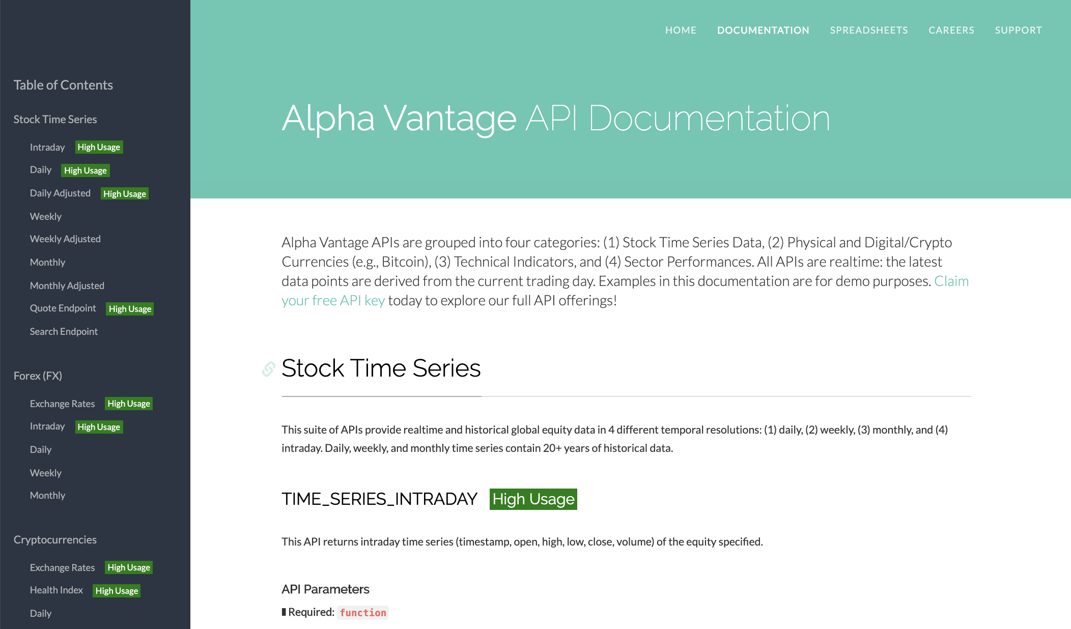 Alpha Vantage financial data API