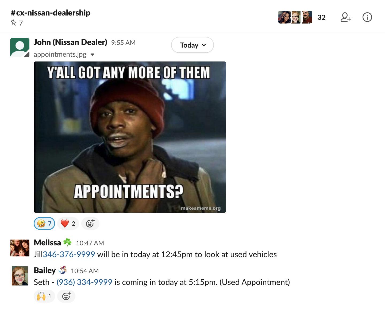 A screenshot of a chat screen with a dealer customer