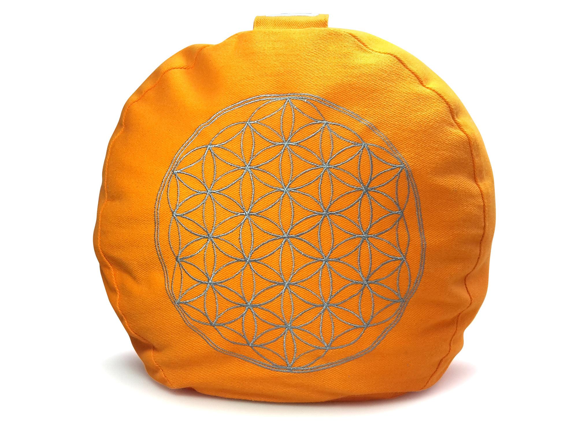 Meditationskissen, Blume des Lebens, orange