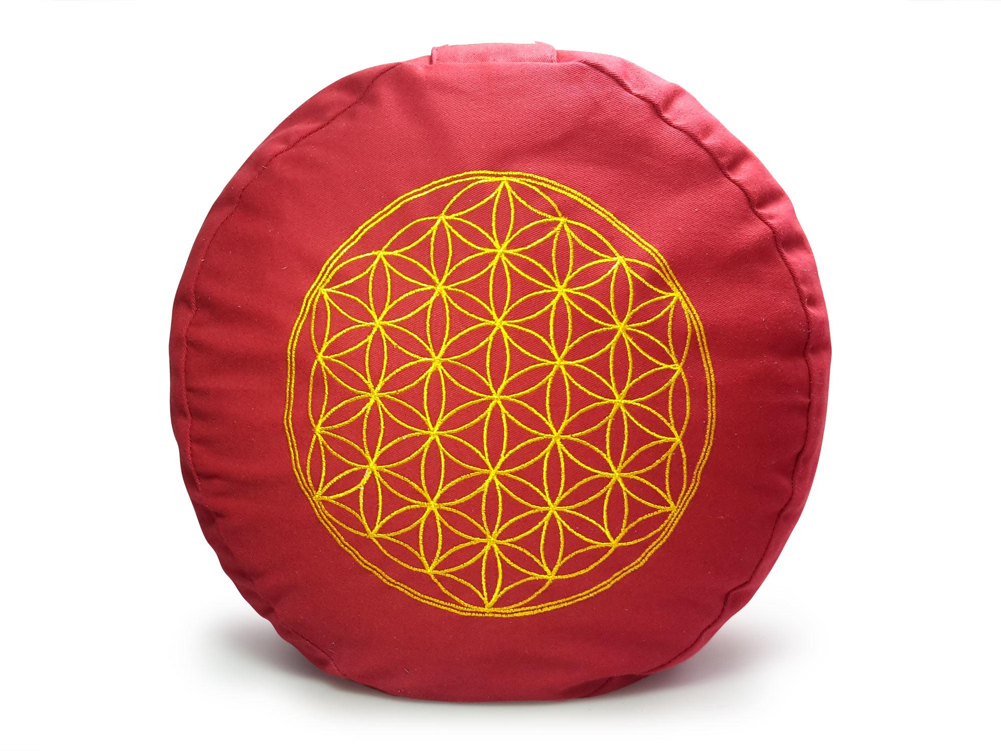 Meditationskissen Blume des Lebens,rot
