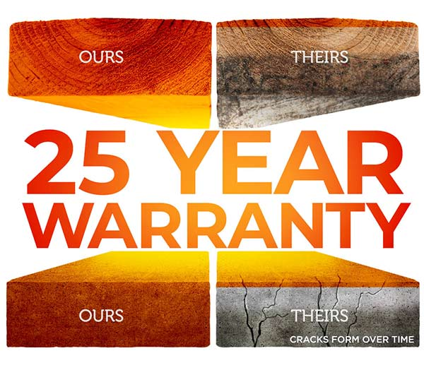 Ever-Sealed wood & concrete comes with a 25 year warranty.