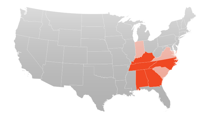 Map Showing States Ever-Seal Operates Within.