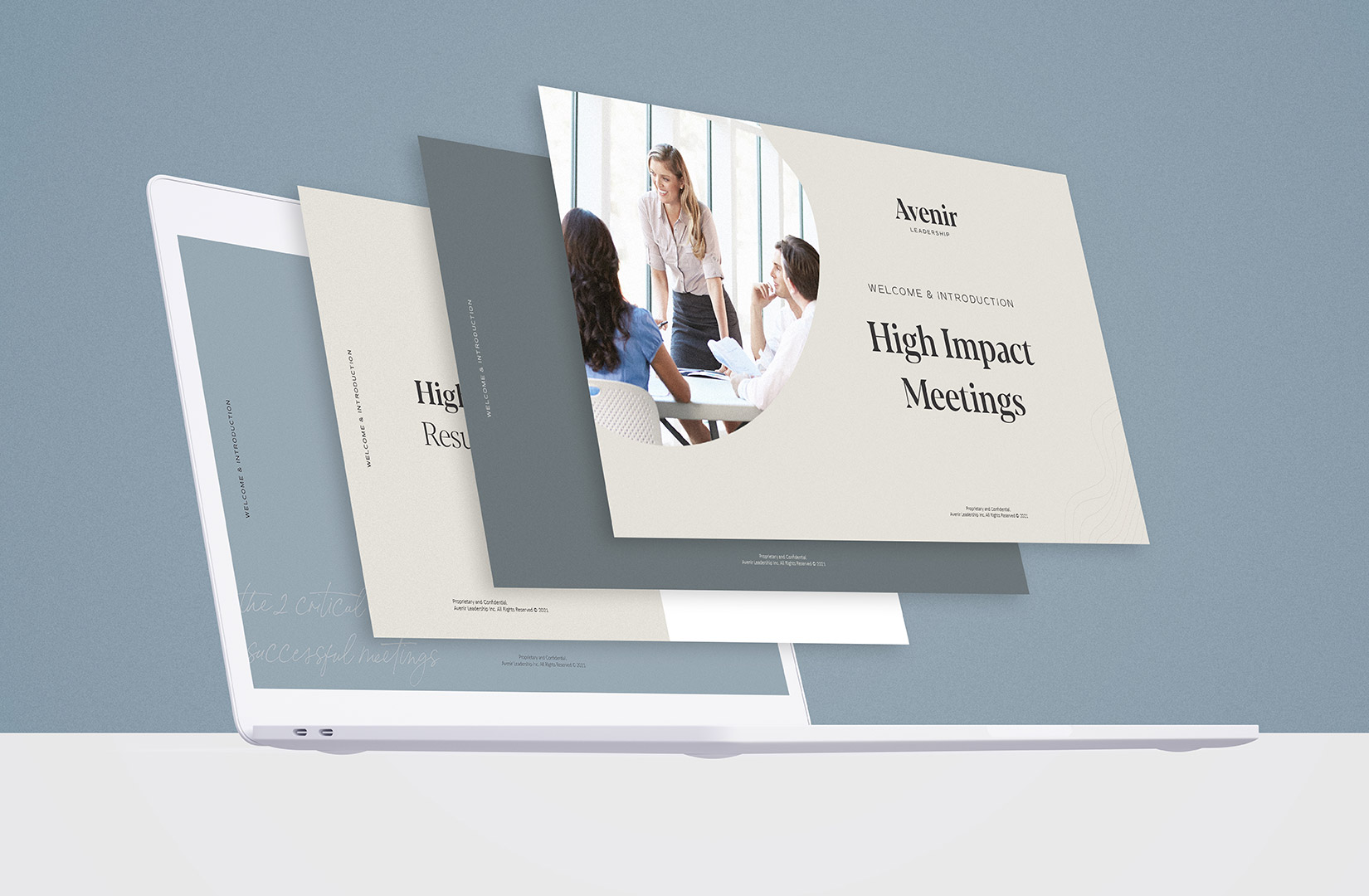 A Foster Creative case study featuring the brand application work for Avenir Leadership.