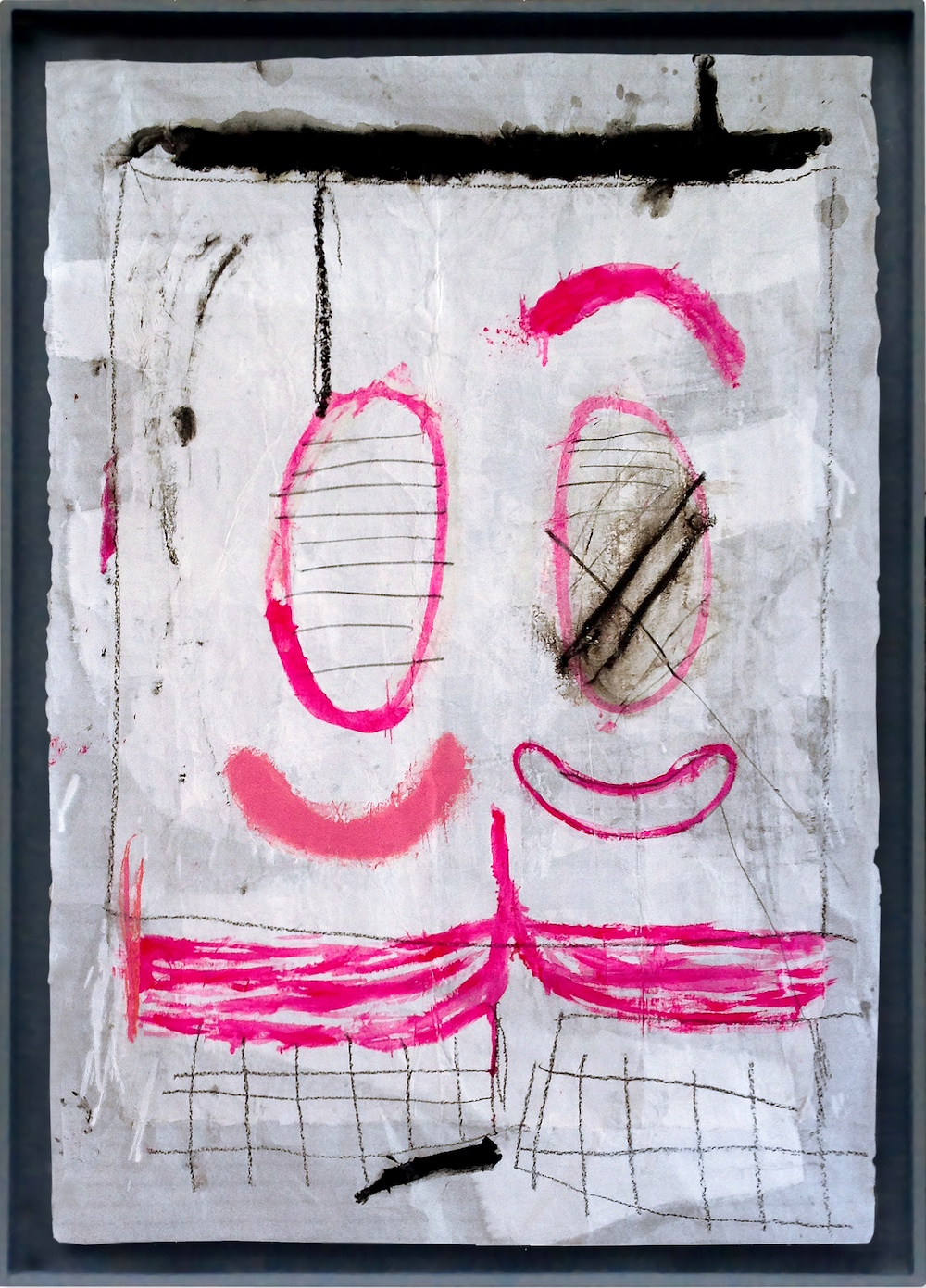 "Claudia Barthoi ""Clown"", 2016, collage, Oil and graphite on layers of paper, 96 x 72 cm, [38 x 28 inches]. Framed in wooden case."