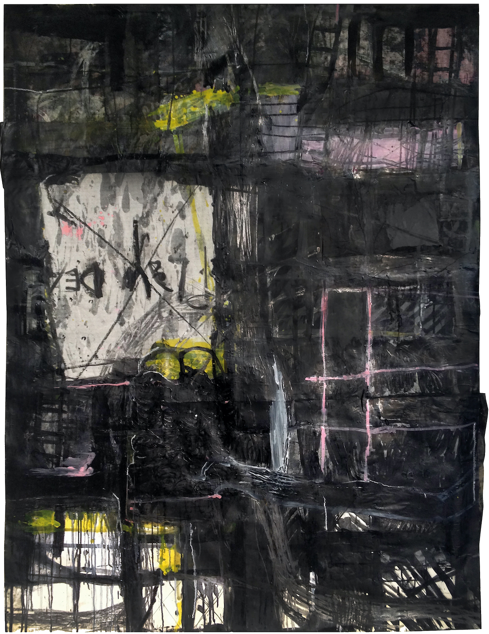 """Play Dead"", 2013, Collage oil and graphite on paper 160 x 120 cm [approx. 63""x47""]"