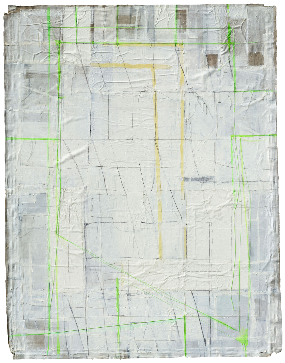 "Claudia Barthoi ""I Can Hear Your Knife"", collage with Oil, paper, thread, pigmented varnish, graphite, flourescent day pigment, adhesive tape, on linnen. Approx. 193 x 148 cm [76"" x 58""]"