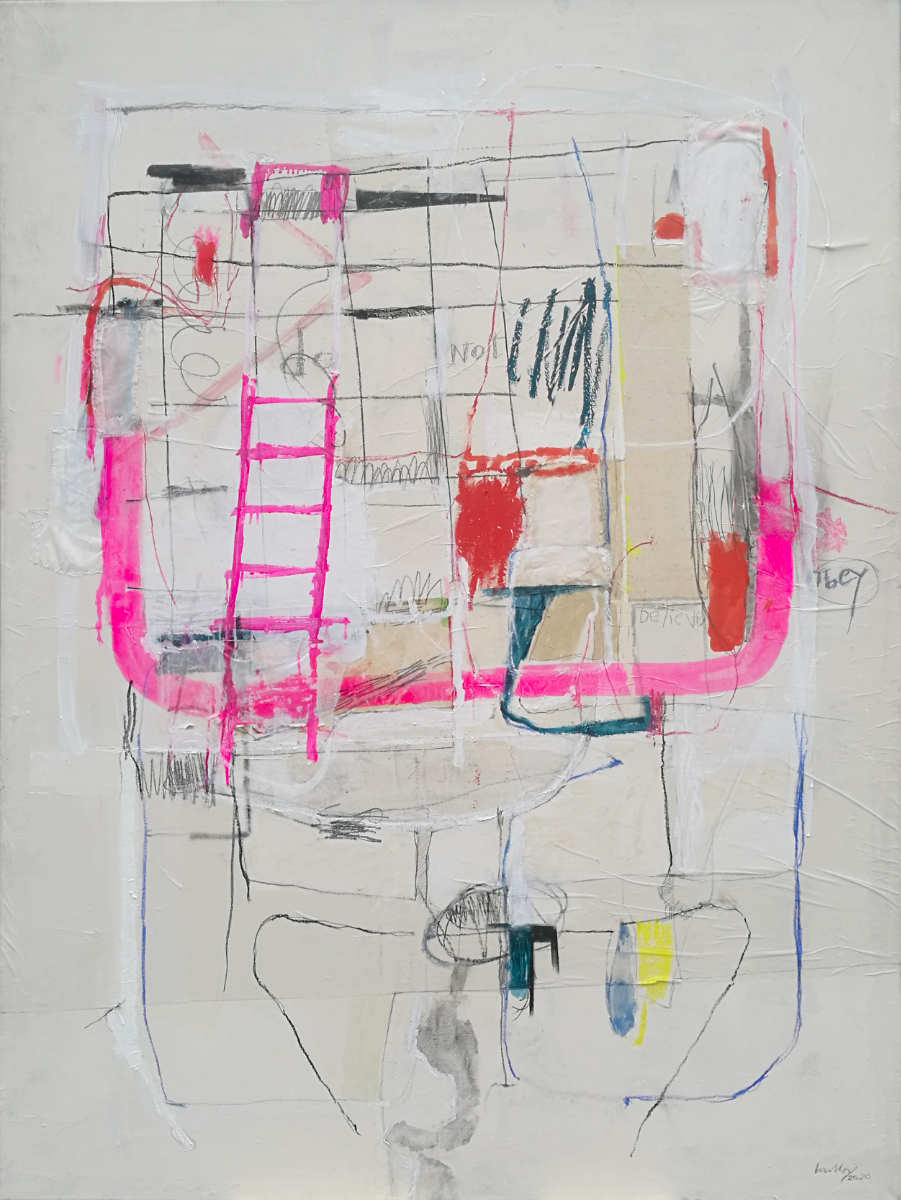 "Claudia Barthoi ""do.not.obey"". 2020, Collage, Oil, oil stick, thread, paper, thread, watercolour, graphite, chalk, on canvas, 165 x 125 cm"