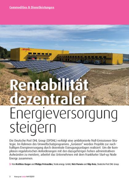 Rentabilität dezentraler Energieversorgung steigern