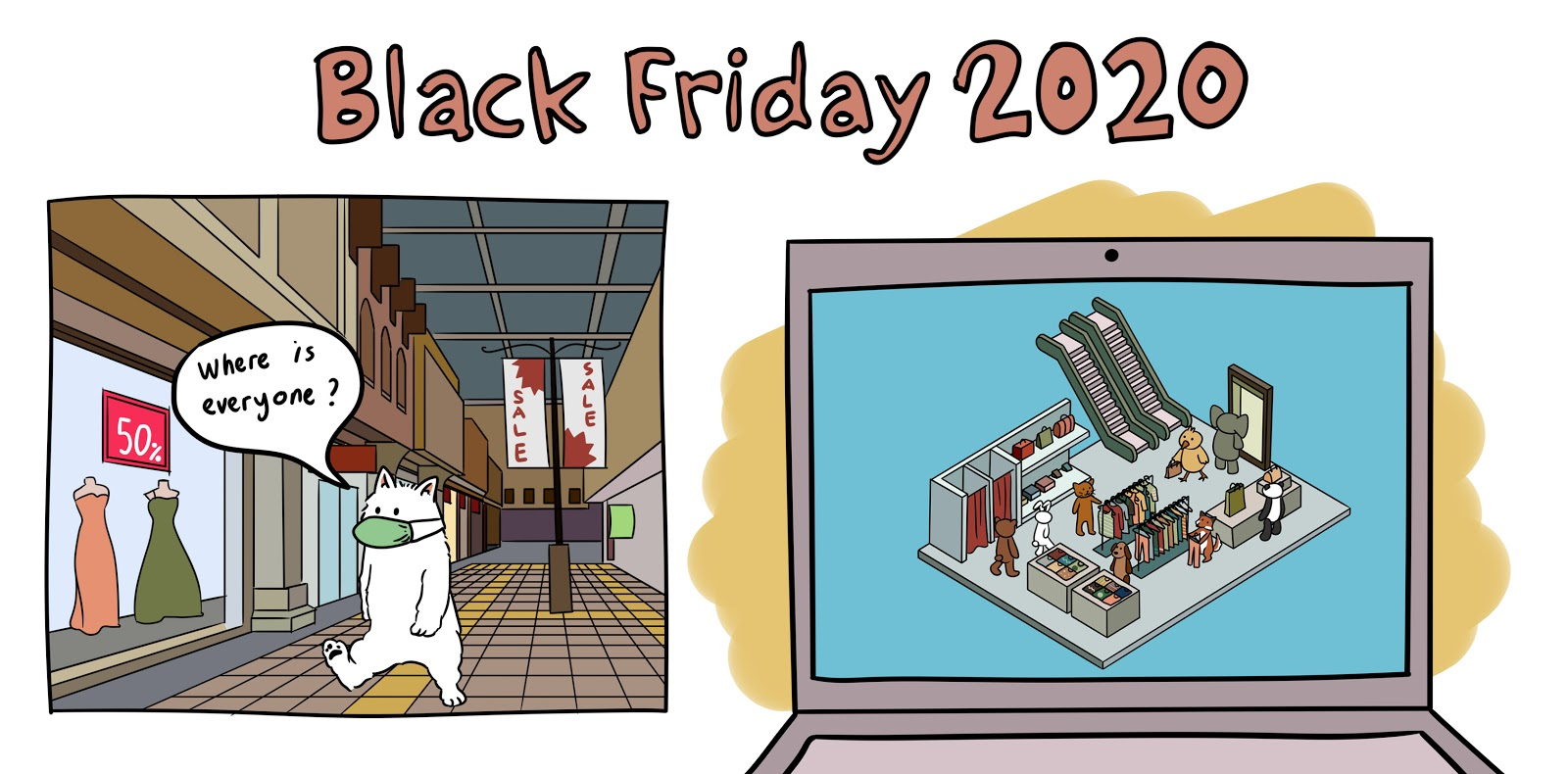 "Black Friday 2020: Illustration of dog walking around empty mall saying, ""Where is everyone?"". Illustration of virtual mall within computer screen and other animals shopping for holiday gifts."