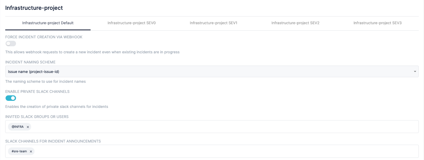 screen shot of Blameless dashboard with infrastructure project naming scheme