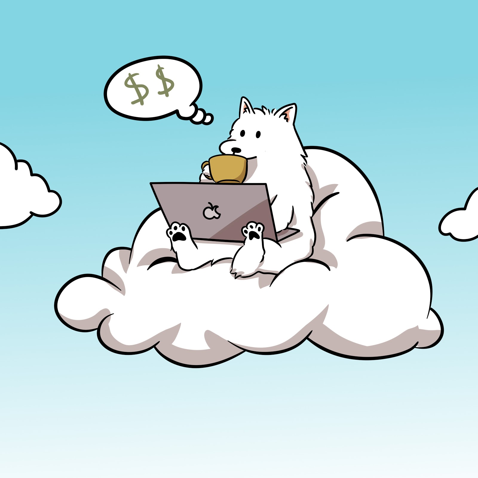 White dog sitting in cloud thinking about money while working on laptop and drinking coffee