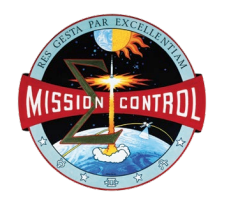 Mission Control patch showing a rocket taking off earth heading into space.