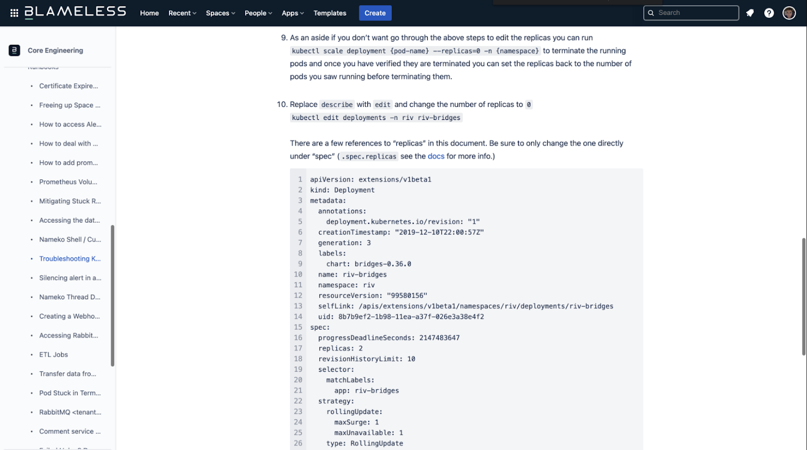Image of runbook stored in Confluence