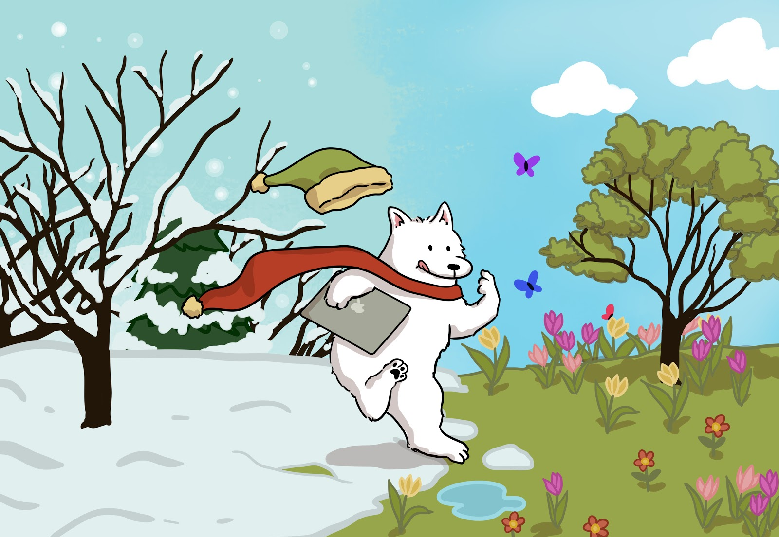 White dog running from a winter scene with snow and bare trees into a spring scene with green grass, flowers, and butterflies.