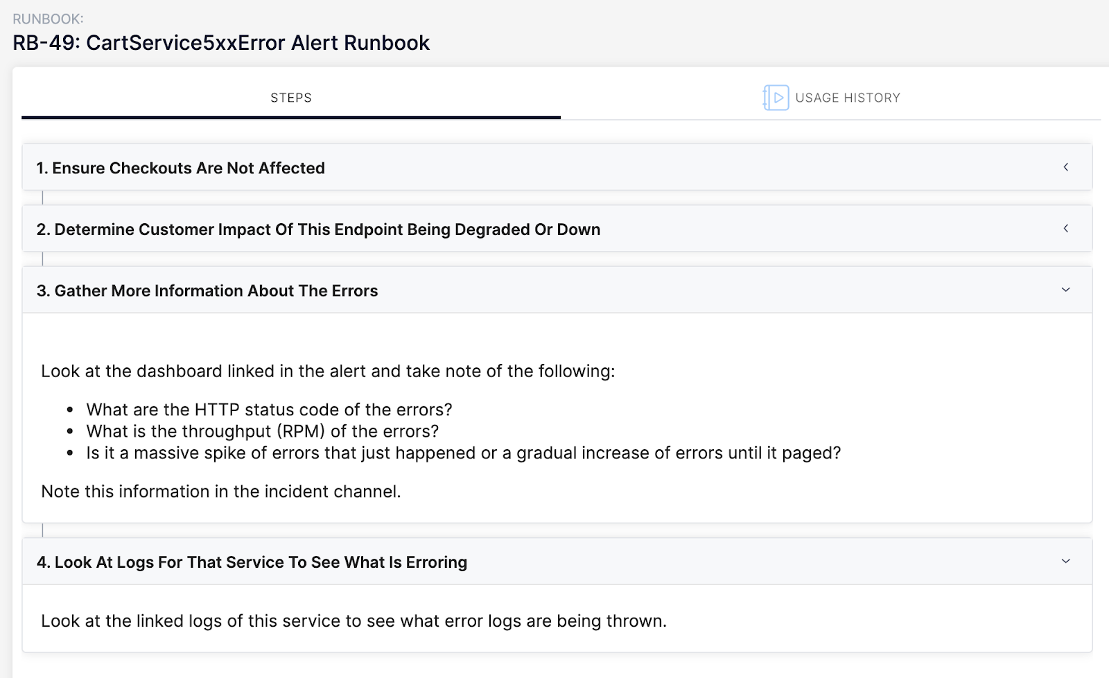 Image of Blameless webapp. Runbook step 3 & 4: Gather more information about the errors and check the logging.
