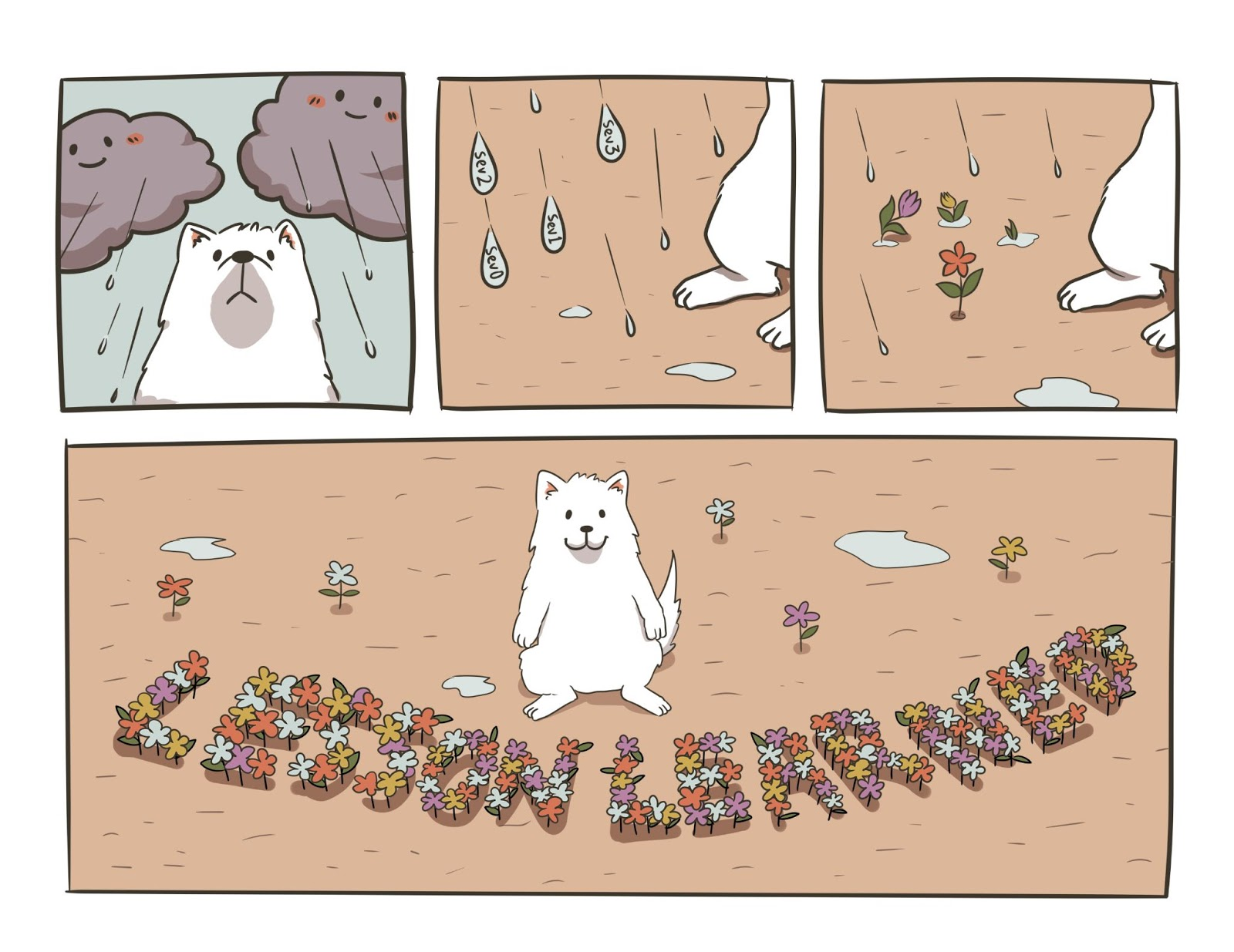 "Comic. Panel 1: White dog in the rain with grey clouds above. Panel 2: Raindrops coming down with Sev0, Sev1, etc in the droplets. Panel 3: flowers growing from the rain. Panel 4: flowers grow into clumps that spell out ""Lesson Learned."""