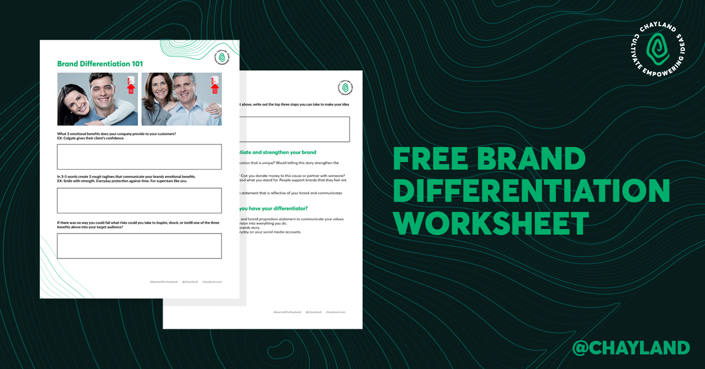 Free Brand Differentiation Worksheet on Brand Strategy by Chay Land