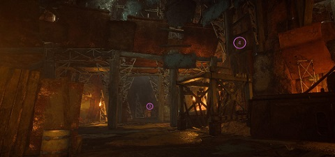 Showing the 3rd and 4th possible spawn location of the Grabbit statue in Room 3 of The Temple of Scar Seasonal Expedition in Anthem