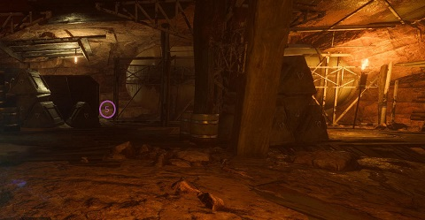 Showing the 5th possible spawn location of the Grabbit statue in Room 3 of The Temple of Scar Seasonal Expedition in Anthem