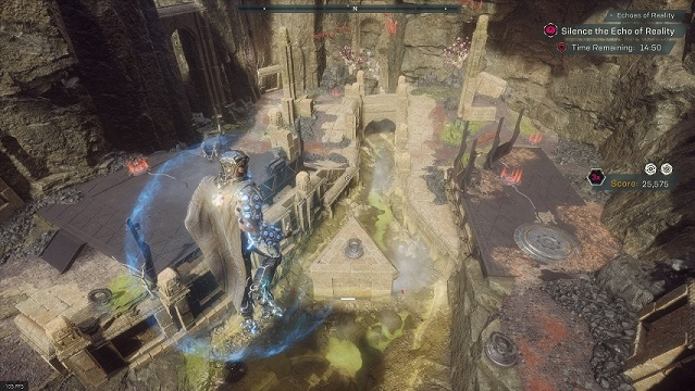 "An overview of the ""Britaheim"" arena in Anthem's Cataclysm"