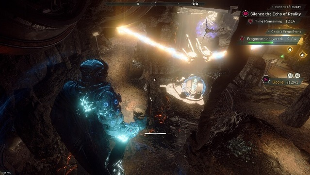 "An overview of the ""Casja's Forge"" arena in Anthem's Cataclysm"