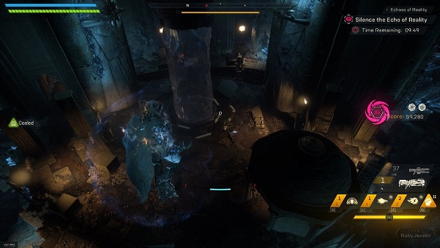"An overview of the ""Sea of Takaro"" arena in Anthem's Cataclysm"