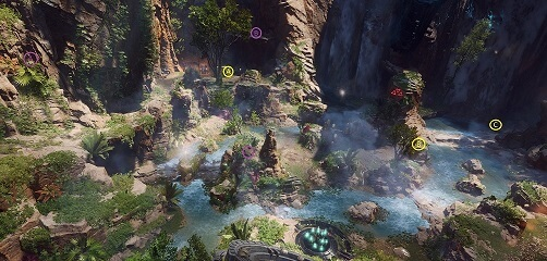 An overview of the objective in the second room of The Tyrant Mine Seasonal Expedition in Anthem